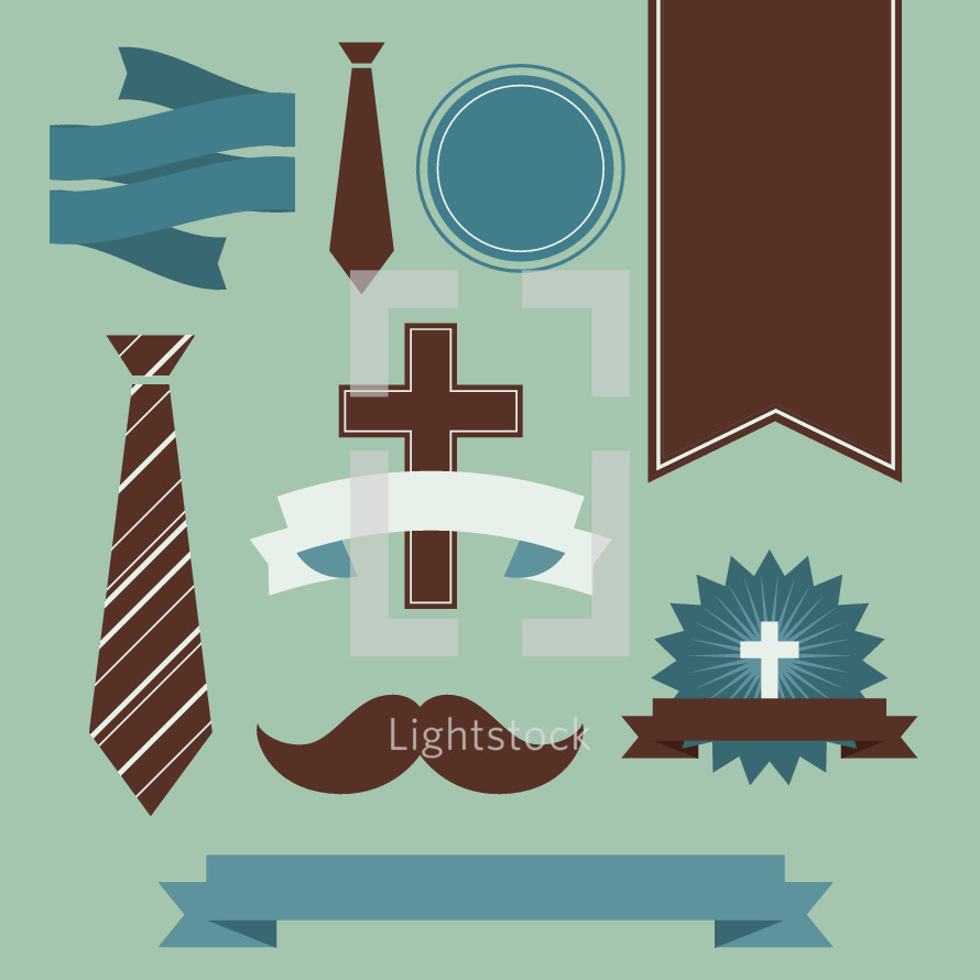Set of icons for Father's Day, tie, moustache, badge, banner, cross, icon, dad
