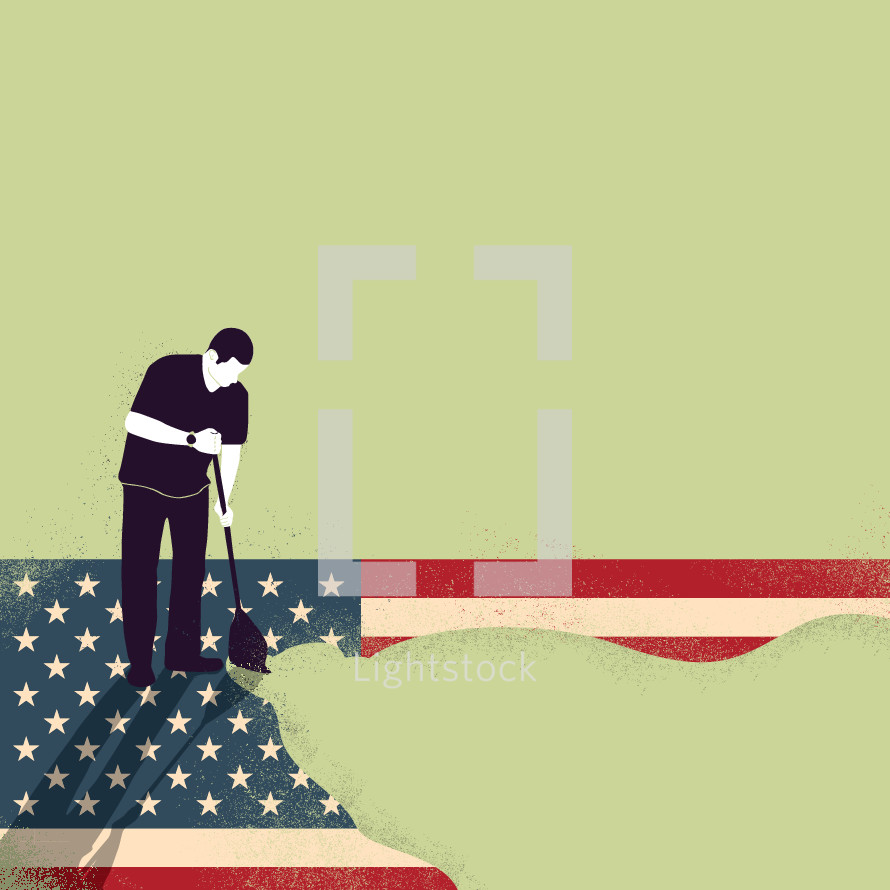 a man mopping up the US flag