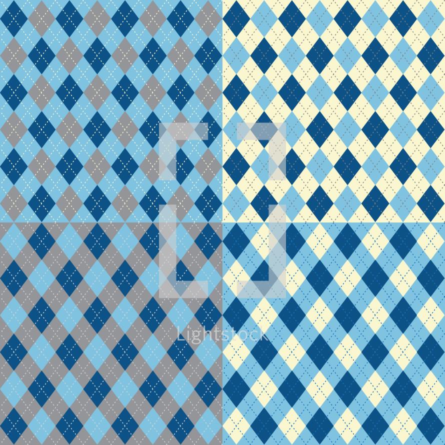 argyle blue pattern
