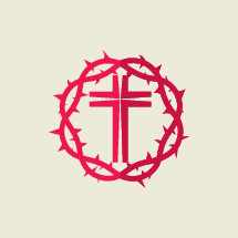 red, crown of thorns, cross, icon