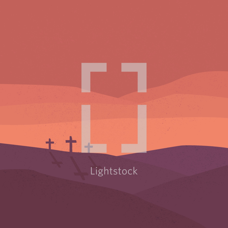Crosses at Calvary illustration.