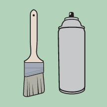 paint brush and spray paint can