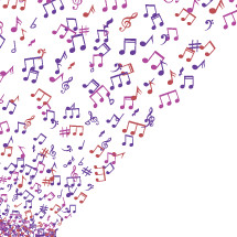 colorful music notes flying through the air.
