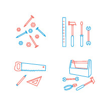 father's day tools, tools, saw, tool box, wrench, plier, hammer, pencil, bolt, nail, ruler, screwdriver, icon