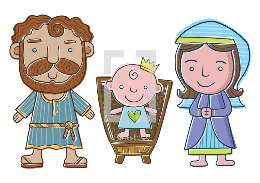 Nativity Scene of Holy Family in a cartoon style suitable for Kids