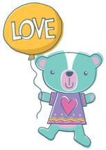 teddy bear holding a balloon