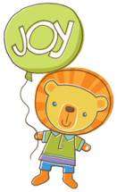 a lion holding a balloon with the word joy