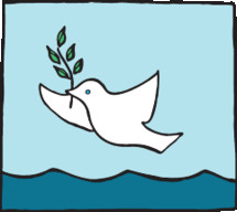 Peace dove flying over waves in the ocean.
