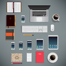 Miscellaneous office and bible study elements, including: coffee, tea, notebook, bible, computer, pencil, ipad, various iphone models.