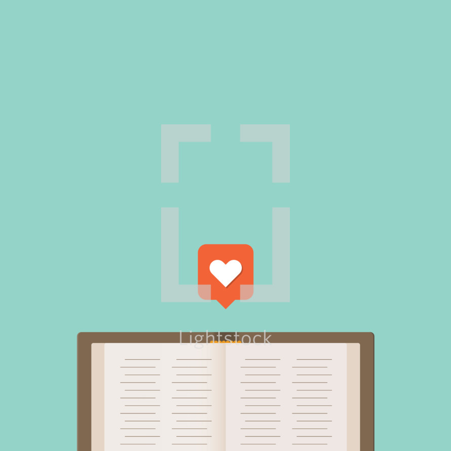 a Bible with a heart bookmark