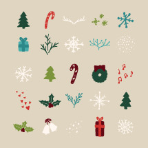 Hand drawn Christmas icon set.