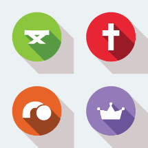 modern christian faith icons with flat shadows.
