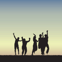 Vector illustration of silhouettes of people jumping in celebration.