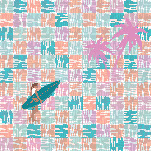 surfer with pastel pattern