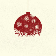 hanging red and white snowflake Christmas ornament