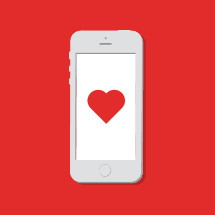 Vector illustration of cellphone with a red heart on screen.