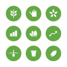 Growth and planting icons.