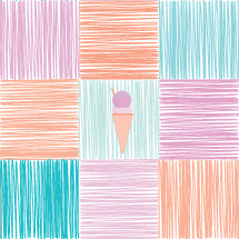 ice cream on scribble pattern