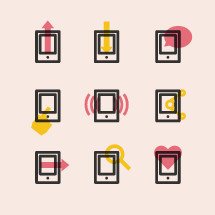 mobile phone icons.