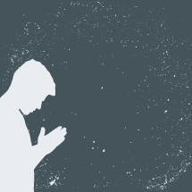 grunge silhouette of a man in prayer.