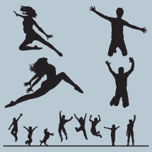 jumping, dance, silhouette, man, woman, child, girl, boy, dog, pet, animal, people, dancer, icon