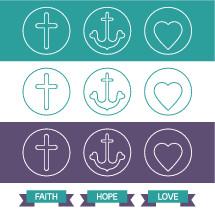 faith, hope, love, cross, icon, badges, icons, heart