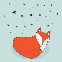 fox sleeping under the stars