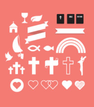 cross, heart, crucifix, dove, Jesus fish., rainbow, hope, banner, church, chalice, wine, Bible, icon