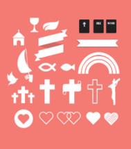 cross, heart, crucifix, dove, Jesus fish., rainbow, hope, banner, church, chalice, wine, Bible, icon