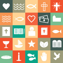 Christian, Christianity, symbols, icons, fish, candle, candle stick, bread, hand, dove, chalice, communion, boat, star, leaves, 10 commandments, ten commandments, journal, pencil, person, Bible, Jesus fish, heart, cross, waves, water, donation, cash, money, church