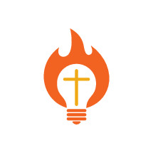 flame, cross, and lightbulb