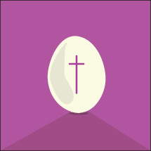 cross on an egg on pink background