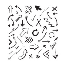 black hand drawn arrows on white