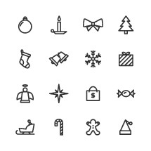 modern Christmas icon set.