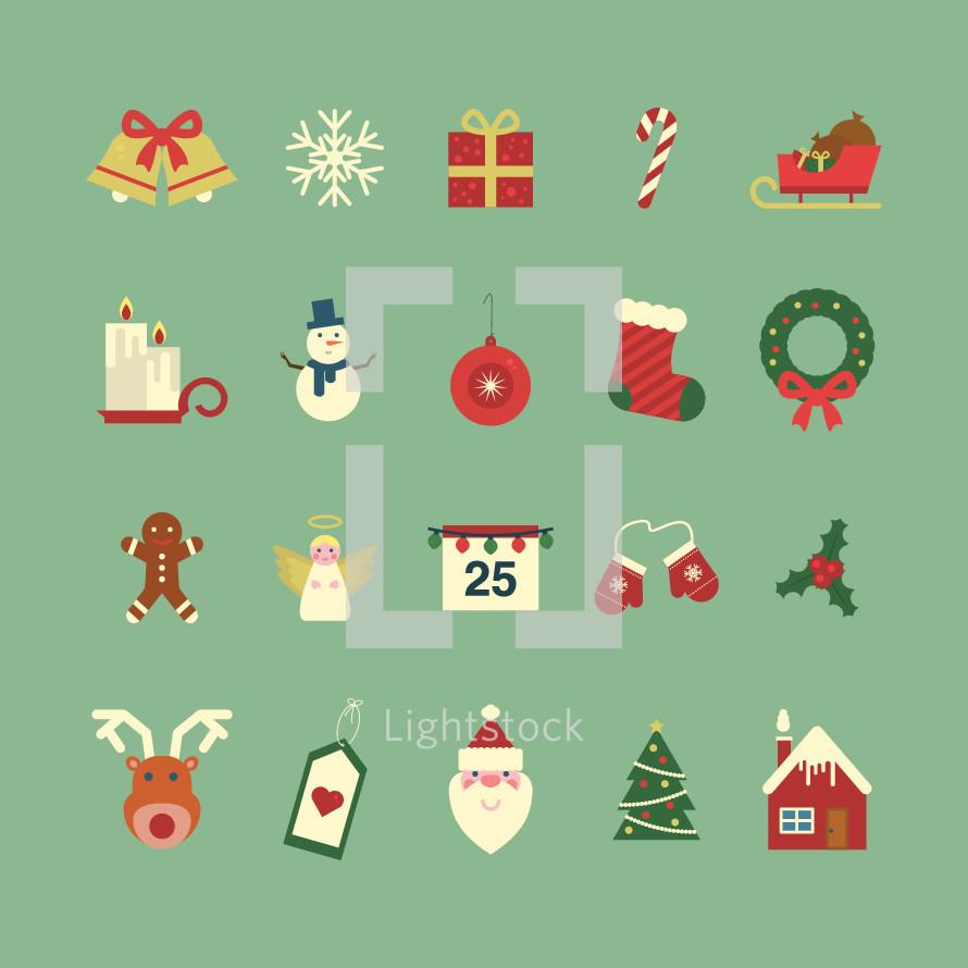 Christmas icon set.