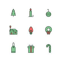 Christmas tree, tags, present, candy cane, icons, icon set, lightbulb, bulb, house, chimney, ornament, Christmas, wreath, candlestick, gift tag