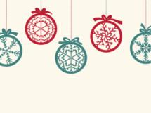 hanging Christmas ornaments illustration.