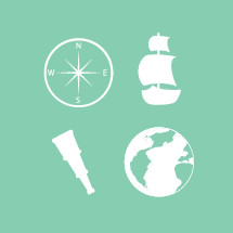 explorer icons, telescoping lends, planet, earth, compass, direction, ship, boat