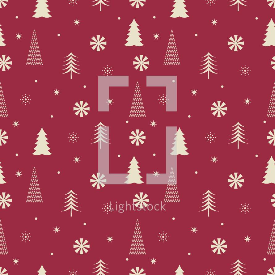 Christmas tree and snowflake pattern