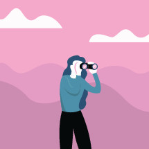 woman searching with binoculars