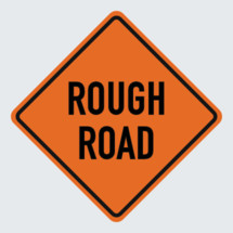rough road  ahead sign