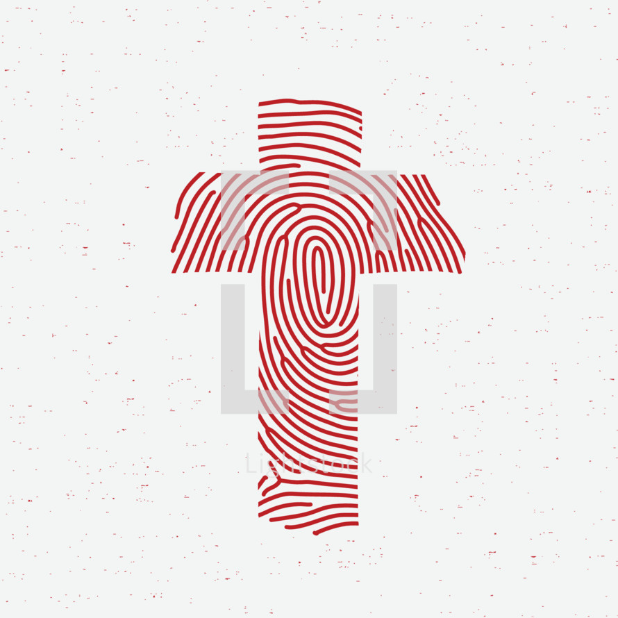 Red fingerprint in the shape of a cross