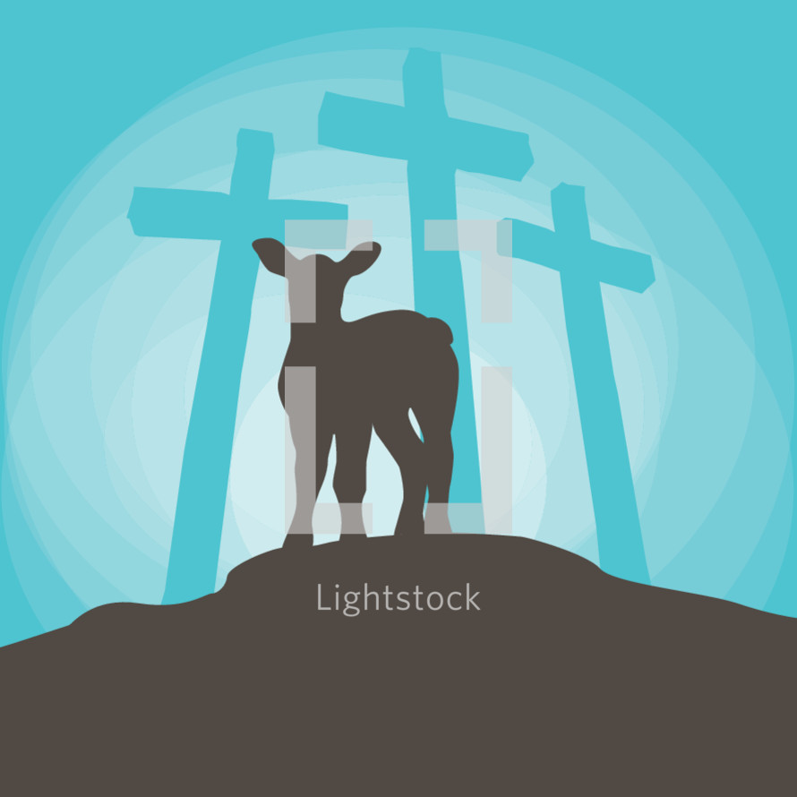 lamb silhouette and three crosses