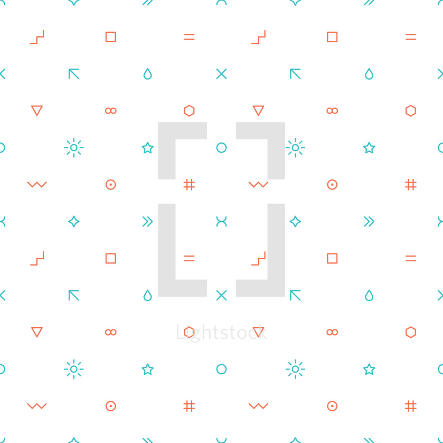 Seamless pattern created of signs such as wave, square, equal sign, arrow, drop, cross, triangular, infinity, hexagon, circle, sun, star, round, ring, moon, number or hashtag. Abstract seamless pattern designed in trendy flat thin style. The graphic element saved as a vector illustration in the EPS file format for used in your design projects.