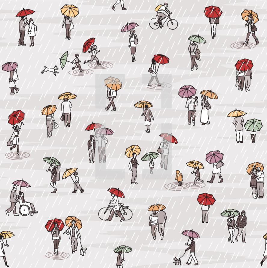 people walking with umbrellas pattern