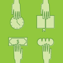 volunteering, giving, giving hands, money, donation, bread, food, time, clock, book, reading, sharing, arm, hands, illustration