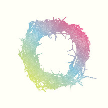 pastel rainbow crown of thorns illustration.