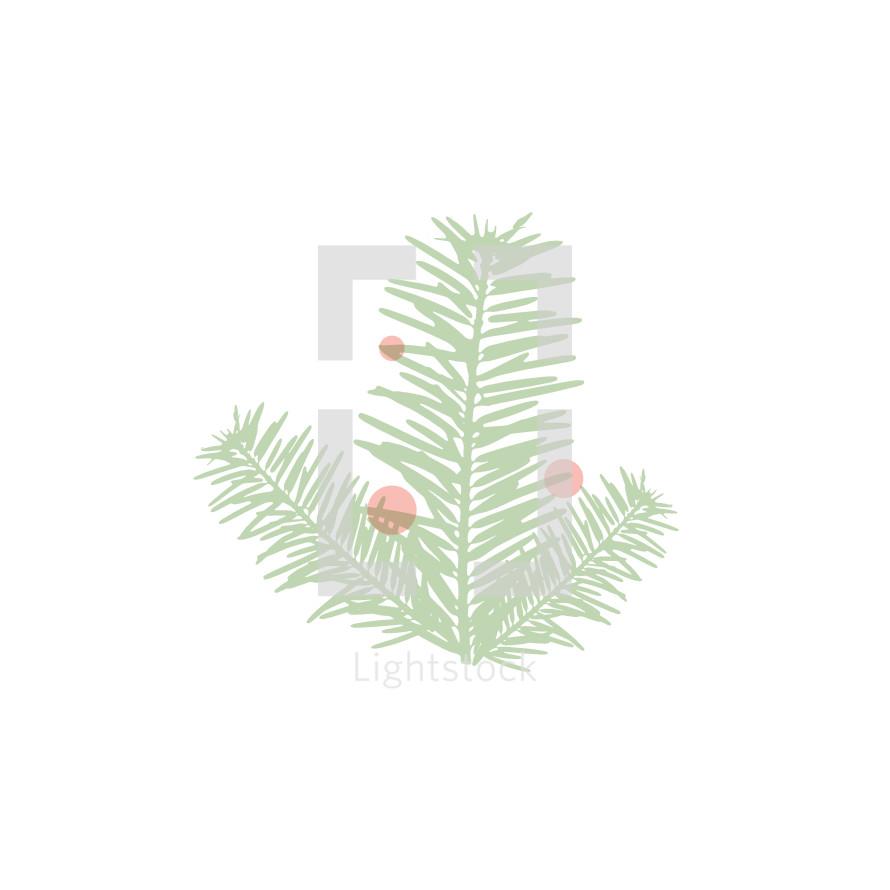 Christmas pine with red berries