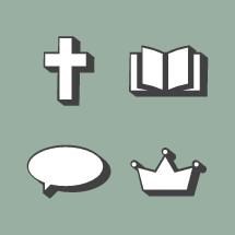 retro icons, thought bubble, message bubble, crown, cross, Bible