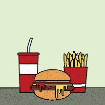 fast food, hamburger, french fries, food, soda, soft drink, beverage, cheeseburger, icon